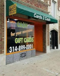 Sell gift cards for cash in St. Louis MO